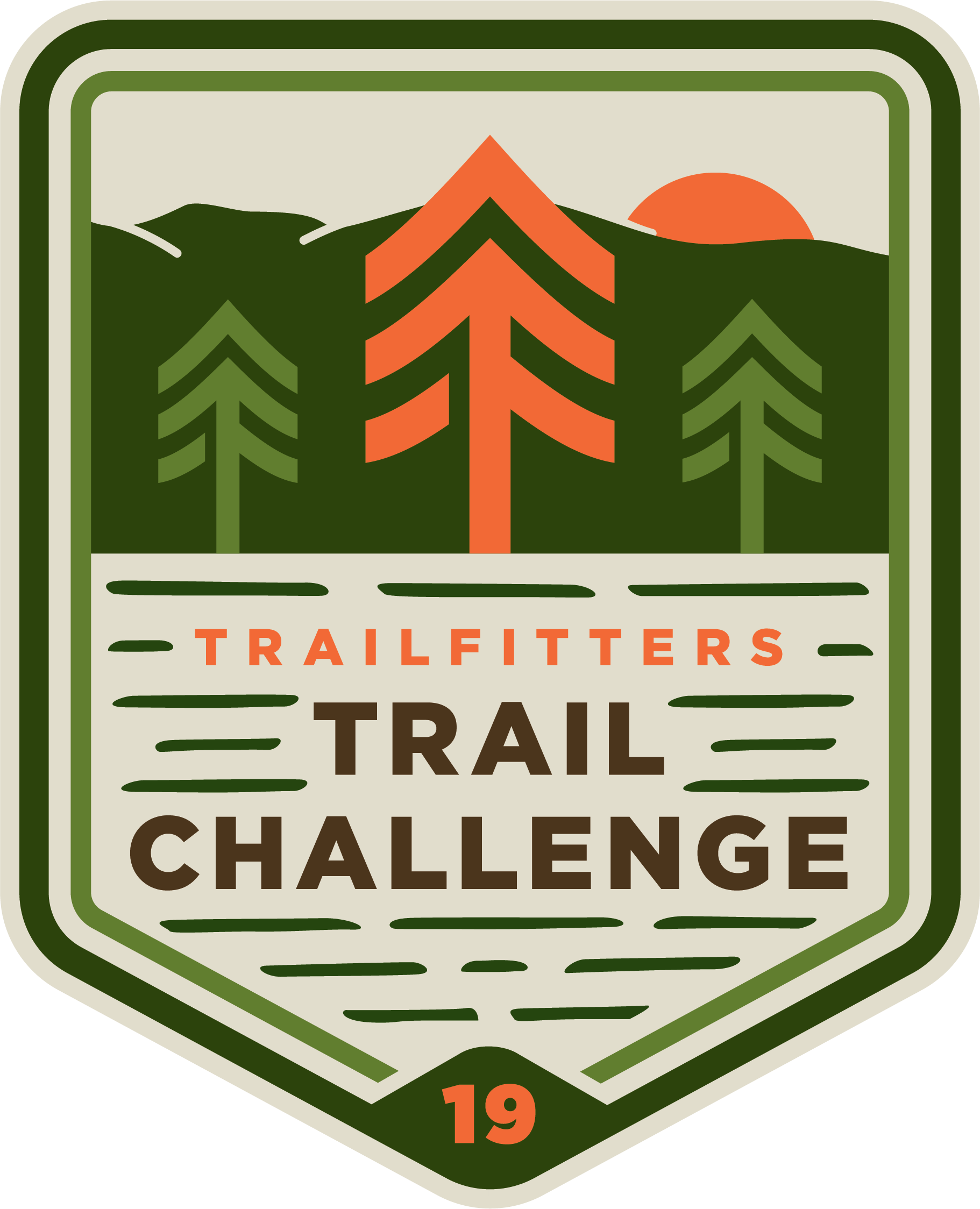 Trail Challenge Patch with green background and orange tree